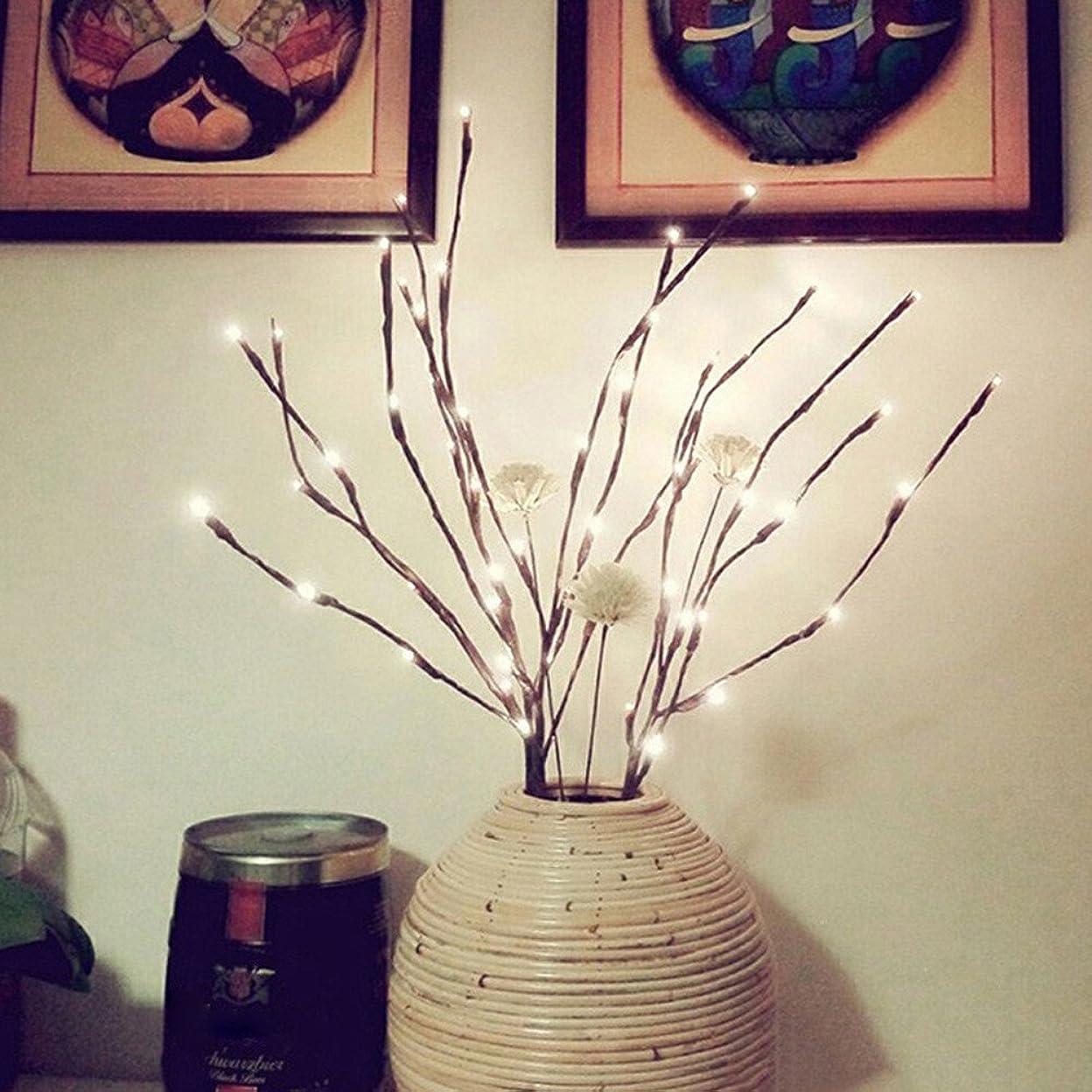 おばさんロッドかなりストリングライト 、 20球LEDイルミネーションライト ウィローブランチランプ家の休日党装飾の装飾のための電池式の人工的な木のヤナギの枝ランプ (イエロー)