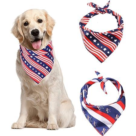 White Dog Bandana Ruff Hippie. Blue Dog Bandana Red 4th of July Independance Day Bandana