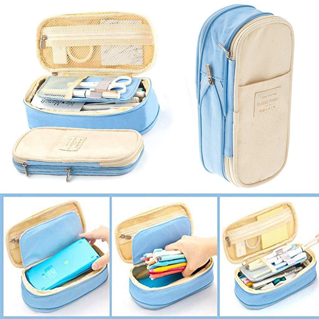 YA-Uzeun - Estuche de lona para lápices de gran capacidad, portátil, con cremallera, multifuncional, para la escuela, C#light Blue 399, 7x21.5 cm: Amazon.es: Iluminación