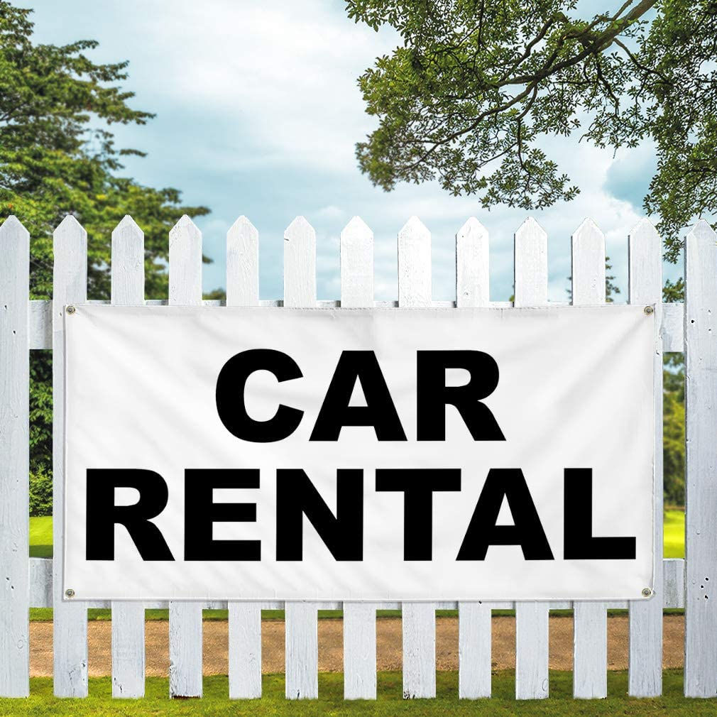 Vinyl Banner Multiple Sizes Car Rental Black Auto Repair Shop Business Outdoor Weatherproof Industrial Yard Signs 8 Grommets 48x96Inches