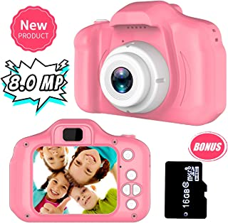 Yehtta Gifts for 3-8 Year Old Girls Kids Camera 8.0 MP Digital Cameras for Children Video Record Electronic Toy Christmas Birthday Gifts Pink