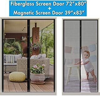 "Fiberglass Magnetic Screen Mesh for French Door 70"" x 79"" with Magnetic Screen Door Fit Door Up to 36""x82"" Max, Keep Fly/Bugs Out, Pet/Kids Walk Through Freely"