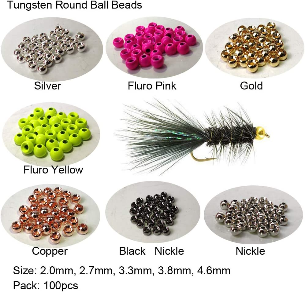 Nickel Black 100 Count SLOTTED Tungsten Beads 2.0 5//64 to 4.6 3//16