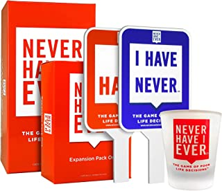 Never Have I Ever Party Pack 4: Original Game, Expansion Pack one, Paddles and a Custom Shot Glass - NSFW