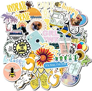 Cute Stickers for Water Bottles, 50 Pack Waterproof Laptop Stickers Trendy Aesthetic Stickers for Guitar, Laptop, Luggage, Skateboard, Stickers for Kids,Girls,Teens,Adults (Yellow)