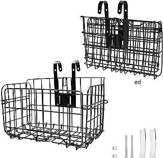 Arltb Lift Off Folding Bike Basket Rust Proof Easy Installation on Front Handlebar & Rear Seat Capacity 44lbs Suitable Folding Bikes Some Mountain Bikes - Black/Silver