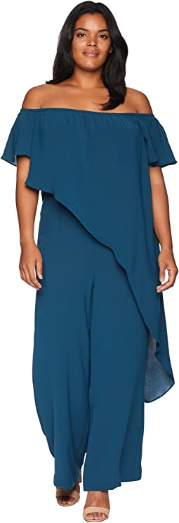 Plus Size Off the Shoulder Draped Jumpsuit
