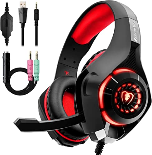 Beexcellent Gaming Headset with Noise Canceling mic, PS4 Xbox One Headset with Crystal 3D Gaming Sound, Memory Foam E...