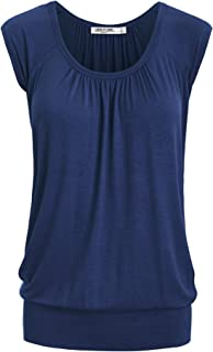 Lock and Love Women's Scoop Neck Short Sleeve Solid/Dip-Dye Ombre Sweetheart Top S-3XL Plus Size_Made in U.S.A.