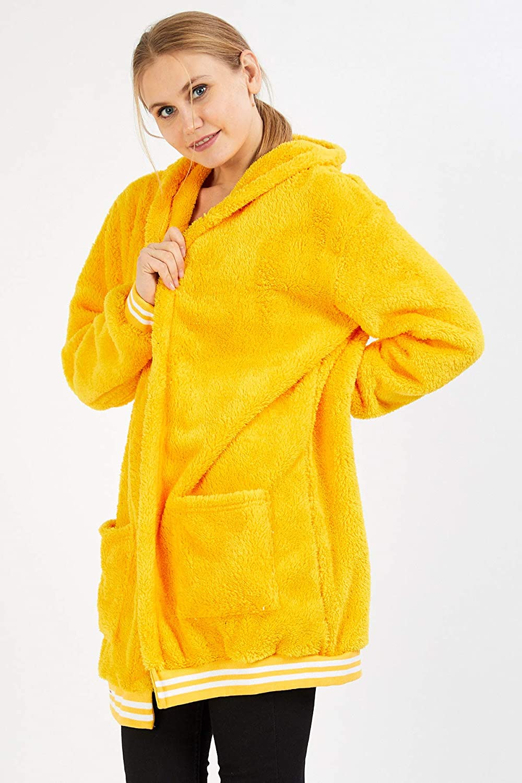 Crazy Age Damen Kapuzenjacke Teddy Fleece Plüschjacke mit Kapuze Casuale Zip Hoodie Cardigan mit Kangrootaschen Kuschelig Weich Gelb(2920)