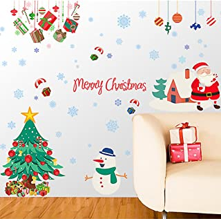 Christmas Window Stickers Removalble Wall Decals DIY Home Decor Glass Door Decal Showcase Stickers Decoration for Christmas New Year Santa Claus