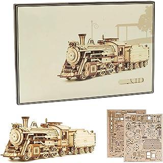 Le Train Сonstruction Mecanique en Bois, Train Maquette Puzzle 3D Kits De Modeles Educatifs pour Adulte Enfant