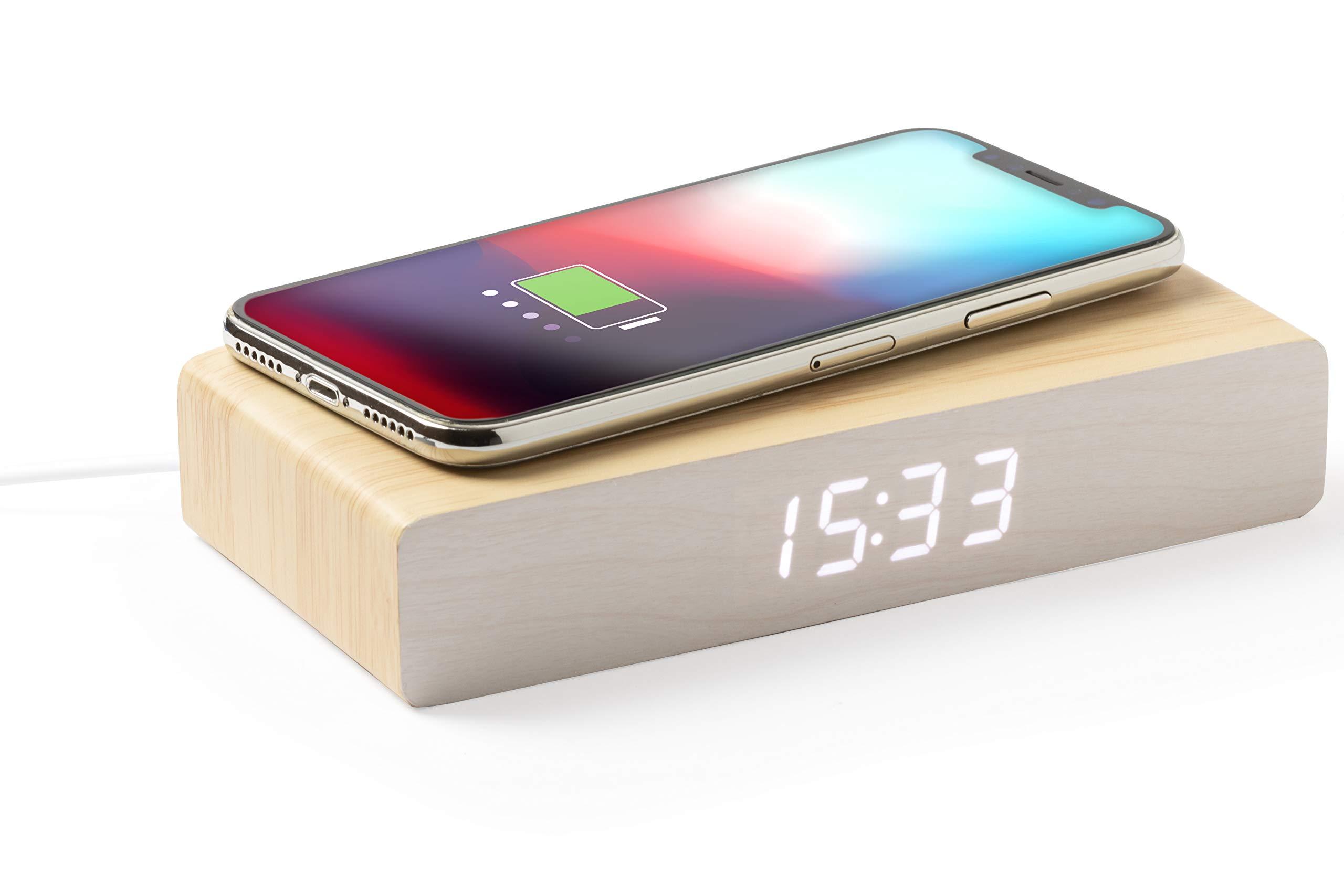 MKTOSASA - Reloj y Despertador de línea Nature con Cargador inalámbrico Integrado. con función Fecha y Hora, Alarma y termómetro - 16.2x3.1x7.8 MDF.: Amazon.es: Hogar