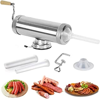 VolksRose 5LBS/3L Manual Sausage Filler Maker, Meat Stuffer Filler Hand Operated Tool, Horizontal Stainless Steel Meat Sau...