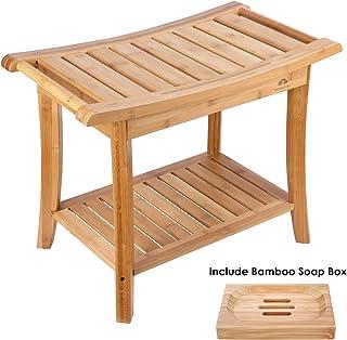 comprar comparacion HOMECHO Tabuerte de Ducha de Bambú con Estante para Almacenamiento y Caja de Jabón Taburete de Baño Ergonómico y Antidesli...