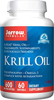Jarrow Formulas Krill Oil, Supports Brain, Memory, Energy, Cardiovascular Health, 600 Mg, 60 Softgels