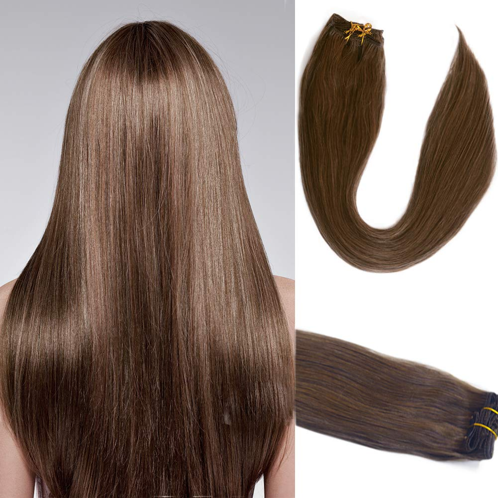 7Pcs Clip in extensions Chestnut 流行 Soft Long 最安値挑戦 Straight Thick Brown