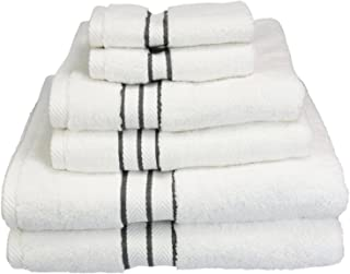 Superior Hotel Collection 900 Gram, Long-Staple Combed Cotton 6 Piece Towel Set, White with Charcoal Border
