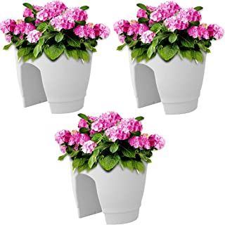 Go Hooked Railing Pots and Planter, Flower Pots (12 Inch, White, Set of 3)