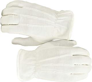 1 جفت (2 دستکش) 100 پارچه راه راه پنبه ای سفید راهپیمایی دستکش لباس رسمی - اندازه بزرگ