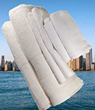 6-Pieces Set of Turkish Bath Towels 2 Bath Towels Off white 70x140, 2 Hand Towels 2 Face Towels White Highly Absorbent Tur...