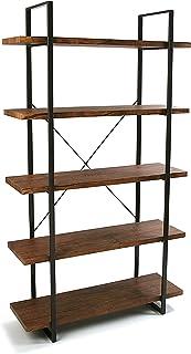Versa Kiel Estantería de Pared de Estilo Industrial Biblioteca de Madera Aglomerada con 5 Baldas o Estantes Librería Comed...