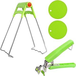 XUBX Set van 4 retriever tang Kom grijper clips hete plaat grijper Roestvrij staal anti-hot anti-slip siliconen pothouder ...