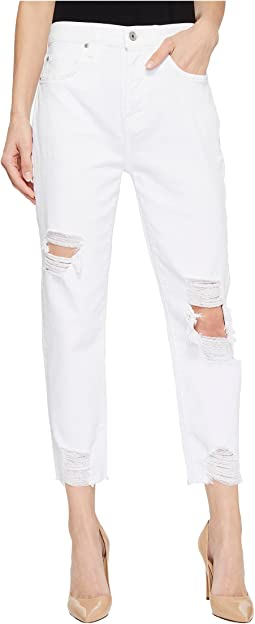 High-Waist Josefina w/ Knee Holes & Destroyed Hem in White Fashion 2