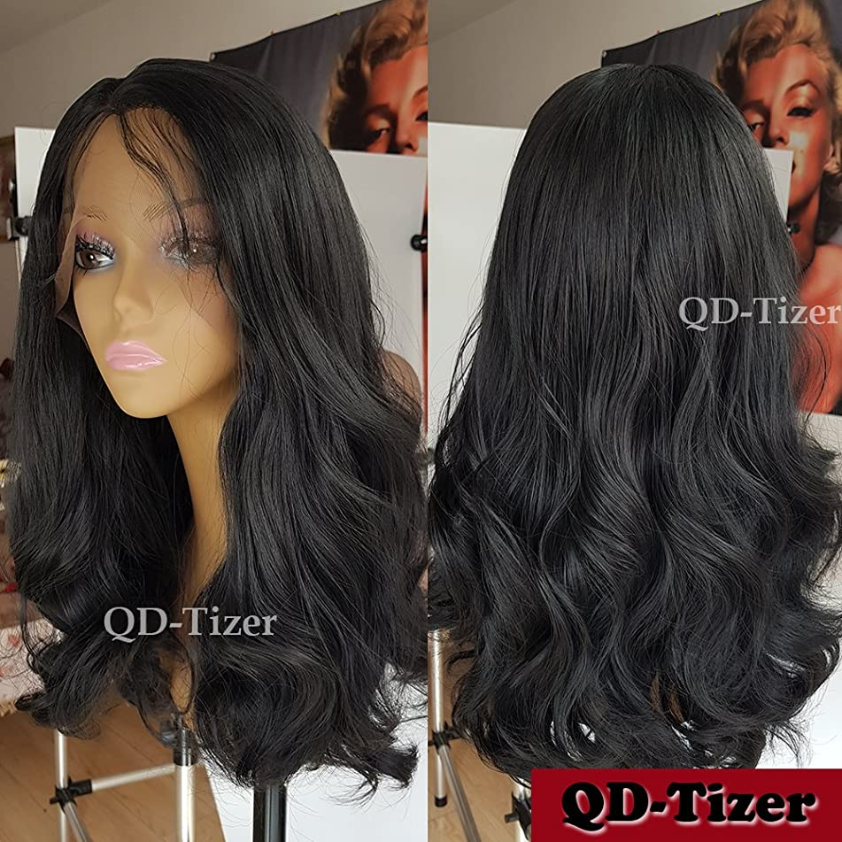 QD-Tizer 180 Density Wavy Hair Wig Natural Black Curly Synthetic Lace Front Wigs with Baby Hair Heat Resistant Body Wave Hair for Women