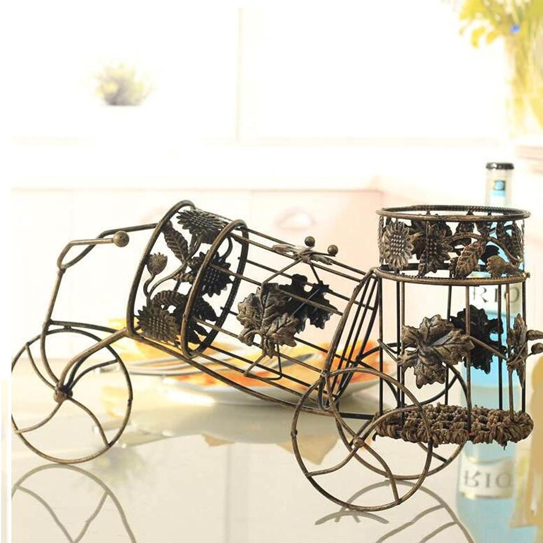 Wine Rack Liquor Storage Shelf Wine Holder Vintage Tricycle Wrought Iron Wine Rack Chariot Wine Rack