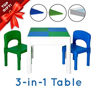 Play Platoon Kids Activity Table Set - 3 in 1 Water Table, Craft Table and Building Brick Table with Storage - Includes 2 Chairs and 25 Jumbo Bricks - Blue and Green
