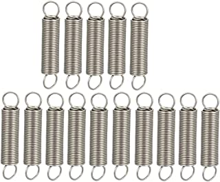 uxcell 10mm x 7mm x 0.7mm Stainless Steel Dual Hook Tension Spring Gray 38pcs