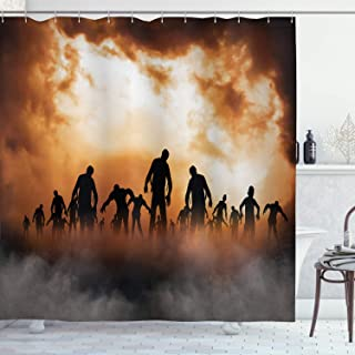 Ambesonne Halloween Shower Curtain, Zombies Dead Men Walking Body in The Doom Mist at Night Sky Haunted Theme Print, Cloth Fabric Bathroom Decor Set with Hooks, 70