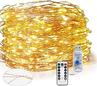 SPECOOL Luces Guirnalda Cadena de Luces USB 300 LED Jardin USB Cargada-Impermeable IP65- Alambre de Cobre Luces Interiores Blancas de Exterior para Bodas Decoracion- Navidad- Fiesta (99 ft - 30 m)