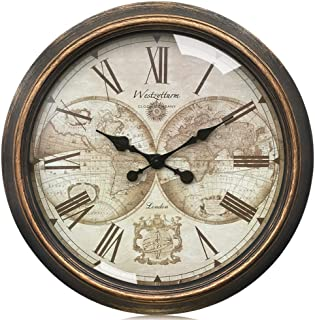 Westzytturm Rustic Wall Clock 30 inches Glass Cover Vintage Big Roman Numeral Wall Clocks Battery Operated Non Ticking Silent Large Decorative Clocks for Living Room Office Bedrooms Home Kitchen Gold