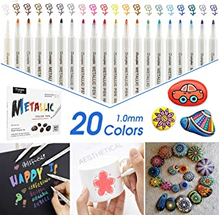 innislink Marqueurs Métalliques, 20 Couleurs stylo scrapbooking Feutre Acrylique Pierres marqueurs Paint Pen pour Album Ph...