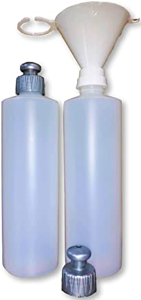 2 Pack Refillable 16 Ounce HDPE Squeeze Bottles With Push/Pull Button Top Dispenser Caps-Great For Lotions, Shampoos, Conditioners and Massage Oils From Earth's Essentials