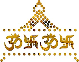 SPIRITED 2 Om 2 Swastik 80 Dot 3D Mirror Acrylic Wall Stickers Home Office and Latest Decoration-(Golden-Pack of 84)
