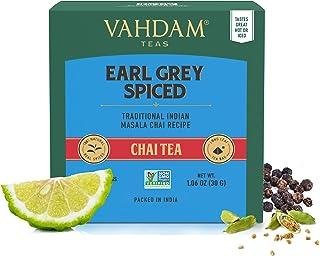 VAHDAM, Earl Grey Masala Chai Teebeutel | 30 Tea Bags 2er-Set | 100% Natürliche Gewürze | Schwarzer Tee mit Bergamottenöl | Gewürzter Chai Teebeutel | Earl Grey Tee | Chai Latte