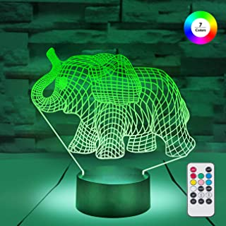 [ 7 Colors/3 Working Modes/Timer Function ] Remote and Touch Control Elephant Night Lights, Dimmable LED Bedside Lamp for Children and Kid's Room