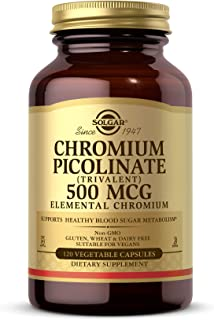 Solgar Chromium Picolinate 500 mcg, 120 Vegetable Capsules - Supports Energy - Supports Healthy Blood Sugar Metabolism - V...