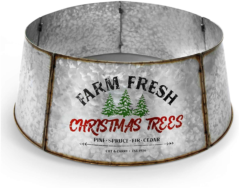 Hallops Galvanized Tree Collar Overseas parallel import regular item Max 75% OFF - Large to Tree. Small Christmas