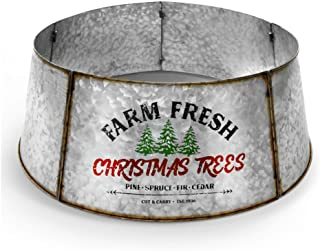Hallops Galvanized Tree Collar - Large to Small Christmas Tree. Adjustable Metal Skirt, Christmas Decor