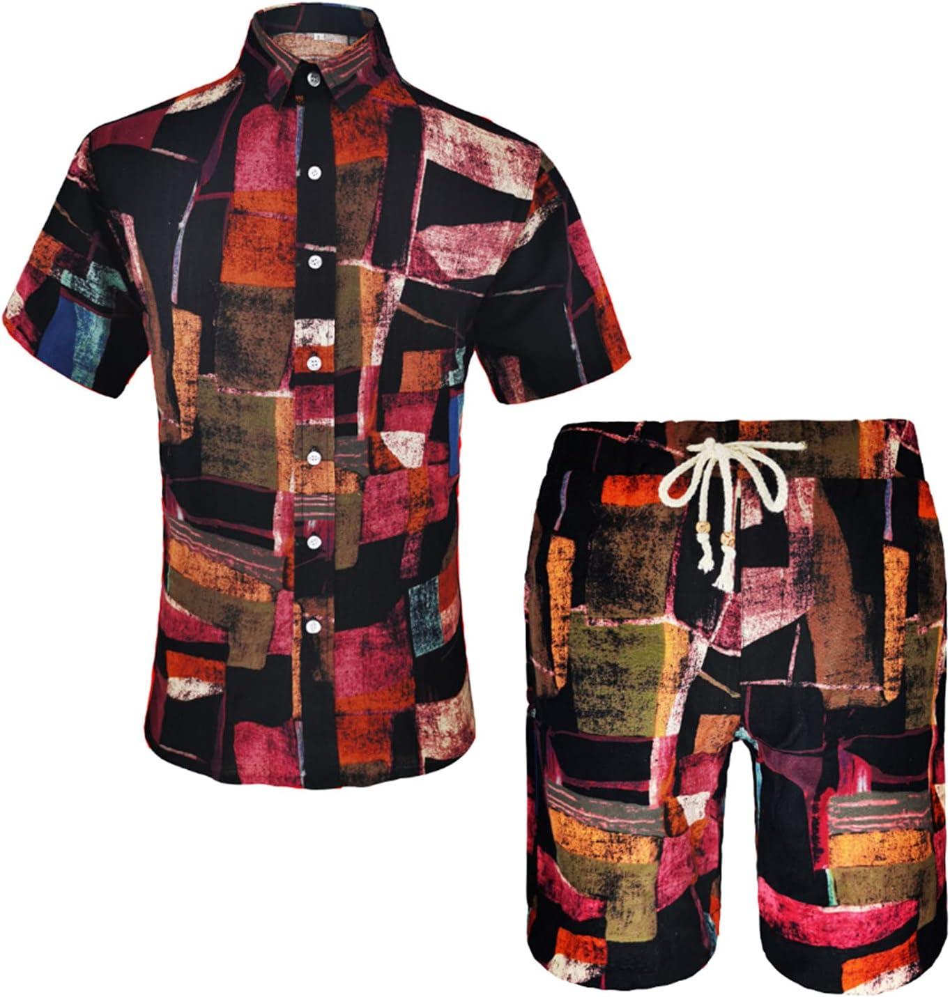 Men's Manufacturer regenerated product Summer Kansas City Mall Casual Hawaiian Short Sleeve Suits Ethnic Sty Shirt