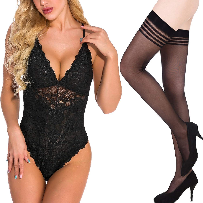 QuneusHot 2pcs Sexy Women Lingerie Lace Mini Bodysuit Deep V Teddy One Piece Lace Babydoll + Thigh Highs Stockings Black L