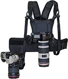 Nicama Dual Multi Camera Carrier Chest Harness Vest with Mounting Hubs, Side Holster..