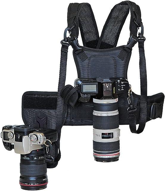 Nicama Bandolera de transporte nuevo fotógrafo correa de pecho cuerpo elástica regulable con lado Funda de cámara 1/4 tornillos para Canon Nikon Sony cámara DSLR