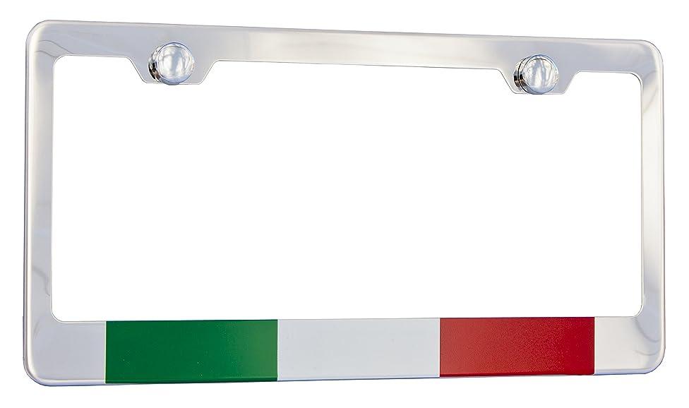 Italy, Italian Flag License Plate Frame, Chrome High Grade 304 Stainless Steel