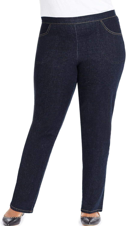 Just My Size Women's Plus-Size 2-Pocket Stretch Pull-On Pants (3X Tall, Super Dark)
