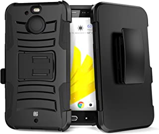 PimpCase Compatible with HTC Bolt Case, HTC 10 Evo, Durable Hybrid Armor Rugged Hard Shell with Silicone Interior Black Phone Cover with Kickstand and Belt Clip Holster